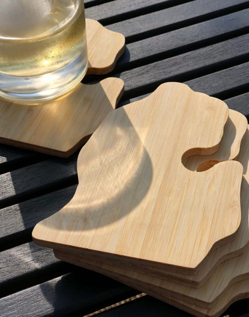 Michigan Shaped Bamboo Coaster
